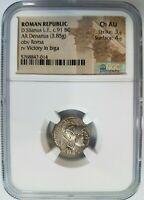 D. Silanus Roman Republic 91 BC NGC AU Silver Denarius Ancient Coin Roma Biga