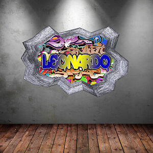 FULLCOLOUR PERSONALISED 3D GRAFFITI NAME CRACKED WALL STICKER DECAL MURAL WSD133