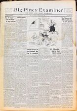 Bound Volume of Big Piney (Wyoming) Examiner Newspapers July-December 1933