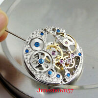 17 Jewels silver Asian Full Skeleton 6497 Hand-Winding Movement fit Men's Watch