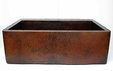 "33"" Hand Hammered Copper FARMHOUSE Apron Front Kitchen Sink"