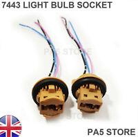2x 7443 Sockets - Wired T20 7444 Turn Signal Brake 12V LED HALOGEN LIGHT BULBS