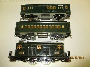 American Flyer Prewar Std Gauge Dark Green 4000 3 Piece Set