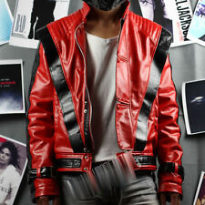 Michael Jackson Costume Red Thriller Leather JACKET Billie Jean GLOVE