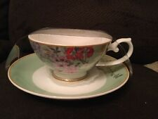 Stechcol Gracie Bone China Mixed Flowers, mint background Cup & Saucer NEW NIP
