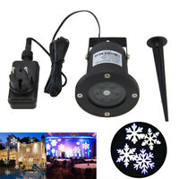 Moving Outdoor LED Snowflake Laser Light Projector Xmas Chrismas House Wall Lamp