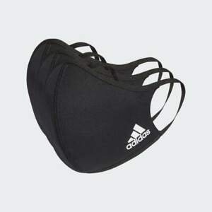 3 Pack LARGE Adidas BLACK Face Mask Cover 100% Authentic Adult Size Large Med