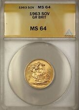 1963 Great Britain Sovereign Gold Coin ANACS MS-64 Very Choice BU (B)