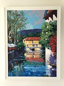 Barbara McCann Framed Hand-embellished Painting L'Isle-sur-la-Sorgue, France COA