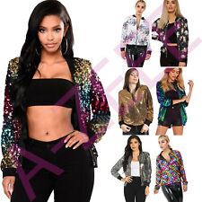 Ladies Funky Bomber Jacket Sequen Print Womens Vintage Coat Outwear Summer Tops