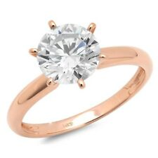 1.5 Ct Round Cut Solitaire Diamond Engagement Ring Solid 14K Rose Pink Gold