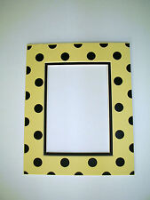 Picture Framing Mat 8x10 for 5x7 photo Polka Dots in Butter Yellow and Black