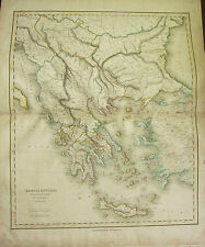 1821 LARGE MAP GRAECIA ANTIQUA GREECE CRETE HAND COLOURED  23 x 19 inches