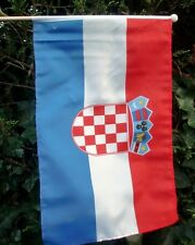 "CROATIA LARGE HAND WAVING FLAG 18"" X 12"" WITH 24"" POLE flags Zagreb Croatian"