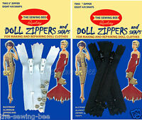 """DOLL ZIPPERS & SMALL SNAPS BLACK or WHITE 2"""" & 3"""" CHOICE"""