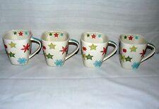 STARBUCKS 2005 LOT SET OF 4 10 OZ COFFEE MUGS SQUARE SWIRL STAR SNOW FLAKE CUPS