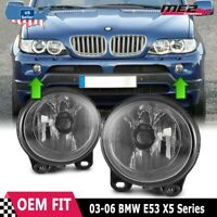 For BMW X5 E53 03-06 Factory Bumper Replacement Fit Fog Lights DOT Clear Lens