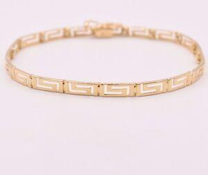 """7.25"""" Open Greek Key Shiny Bracelet Real Solid 14K Yellow Gold Hidden Lock"""