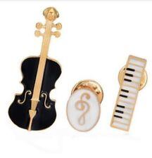 piano and key treble, music Set 3 broches violin, keyboard