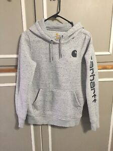 Great! Carhartt Womens Gray Pullover Hoodie Size Small 4-6 Relaxed Fit