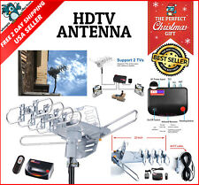 Outdoor Amplified Antenna Digital HD TV FOX 180 Mile Remote Support 2 TVs FOXTV