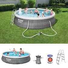 More details for bestway family swimming pool fast set round inflatable above ground rattan print