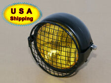Retro Amber Vintage Motorcycle Side Mount Headlight Cafe Racer With Grill Cover