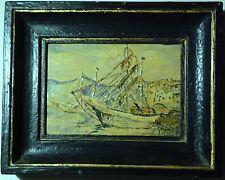 Marine huile sur panneau bois signée GHISLAINE