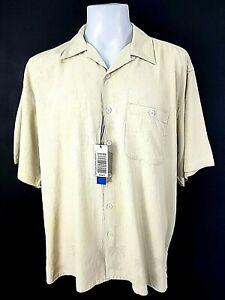 """R&R CASUALS Mens Beige 100% Silk S/S HAWAIIAN SHIRT - 2XL - Chest 54"""" - £59"""