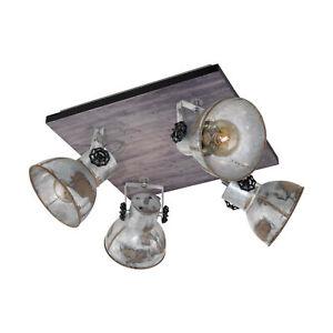 Adjustable 4 Bulb Ceiling Spotlight Wood & Raw Industrial Steel Shade 40W E27