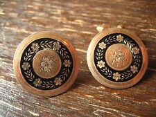 Superbe Belle Biedermeier OR EMAUX Boutons de manchette en métal bouton B