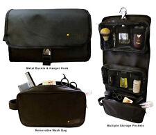 Mens Wash Bag Hanging Travel Toiletry Organiser Black Grooming Shaving Case