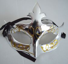 NEW Shiny silver metal plastic glitter swirl Masquerade Mask Gothic halloween