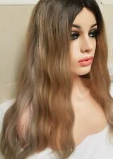 Shoulder Length Sandy Mousey Dark Blonde Real Human Hair Wig Lace Parting