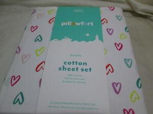 NEW Pillowfork HEARTS Cotton Toddler Sheet Set ~ Multi  Hearts New