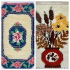 """Lot Of 2 Vintage Hooked Shag Rugs Floral Almost Complete 27"""" x 20"""" Shabby Chic"""