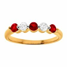 3/4 ct Created Ruby & White Sapphire Band Ring in 10K Gold