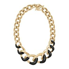 New Michael Kors MKJ5954710 Autumn Luxe Black & Gold Tone Chunky Chain Neckless