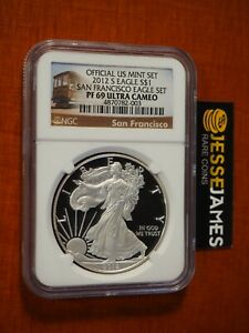 2012 S PROOF SILVER EAGLE NGC PF69 ULTRA CAMEO FROM SAN FRANCISCO SET TROLLY CAR