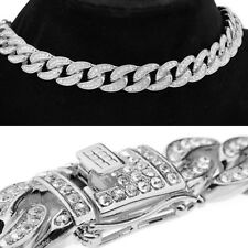 "Mens Choker Silver Tone Cuban Bling Chain Chunky Alloy Full Stone 16"" Necklace"