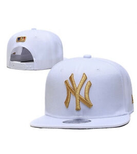 New York Yankees Snap Back Adjustable Hat Cap NY One Size White Gold **New**