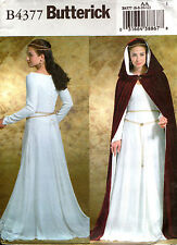 Butterick Sewing Pattern B4377 Medieval Gown and Cape Costume Sz 6-12