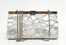 New Christian Louboutin Palmette Dentelle Silver Lace Messenger Bag Clutch