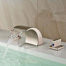 Brushed  Nickel Widespread Bathroom Basin Faucet Vanity Sink  2 Handle Mixer Tap
