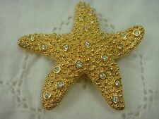 VINTAGE GENUINE SWAROVSKI SWAN STAMP CRYSTAL STUDDED STARFISH PIN BROOCH