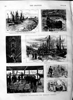 Old Antique Print 1883 Yarmouth Herring Fishery Wharf Harbour Boats Nets 19th