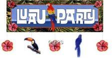 1 x Giant Hibiscus Luau Party Toucan Polynesian Banner w Attachments...Tropical