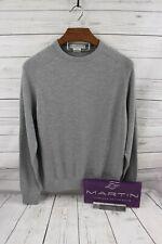 MARTIN 100% Zegna Barrufa Italian Merino Sweater-Crew Neck Collar GREY