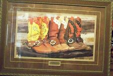 Ranch Boots David Stoecklein Western, Solid Wood Framed Picture