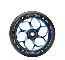 A Pair Of Fasen 120mm Alloy Core Stunt Scooter Wheel - Burn Pipe / Neo Blue